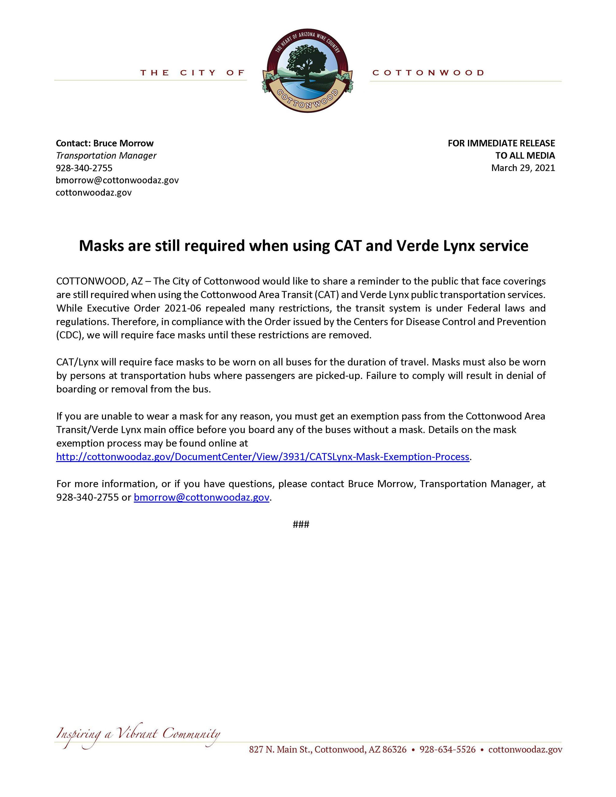 PRESS RELEASE - Masks Still Required on CAT-Lynx
