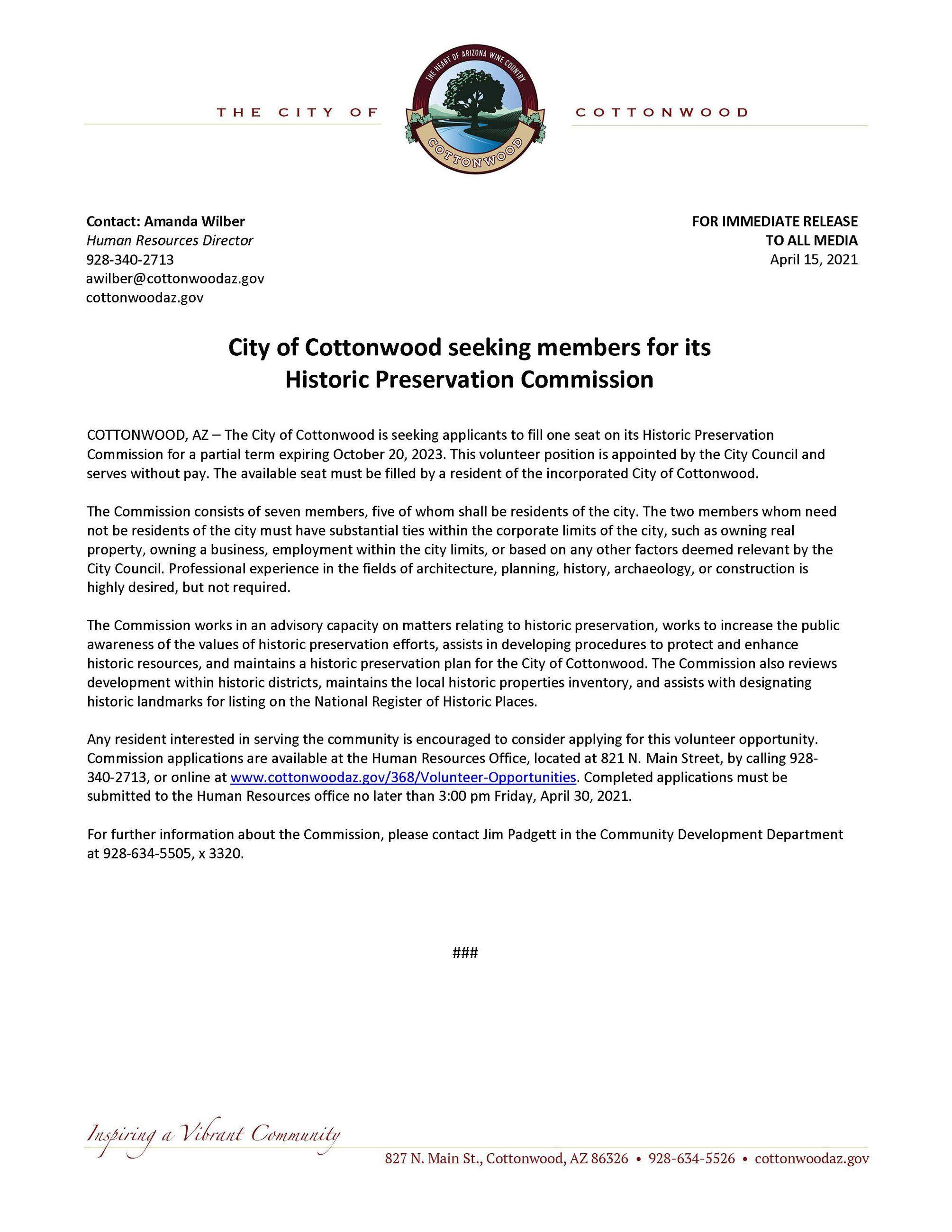 PRESS RELEASE - City of Cottonwood seeking members for its Historic Preservation Commission