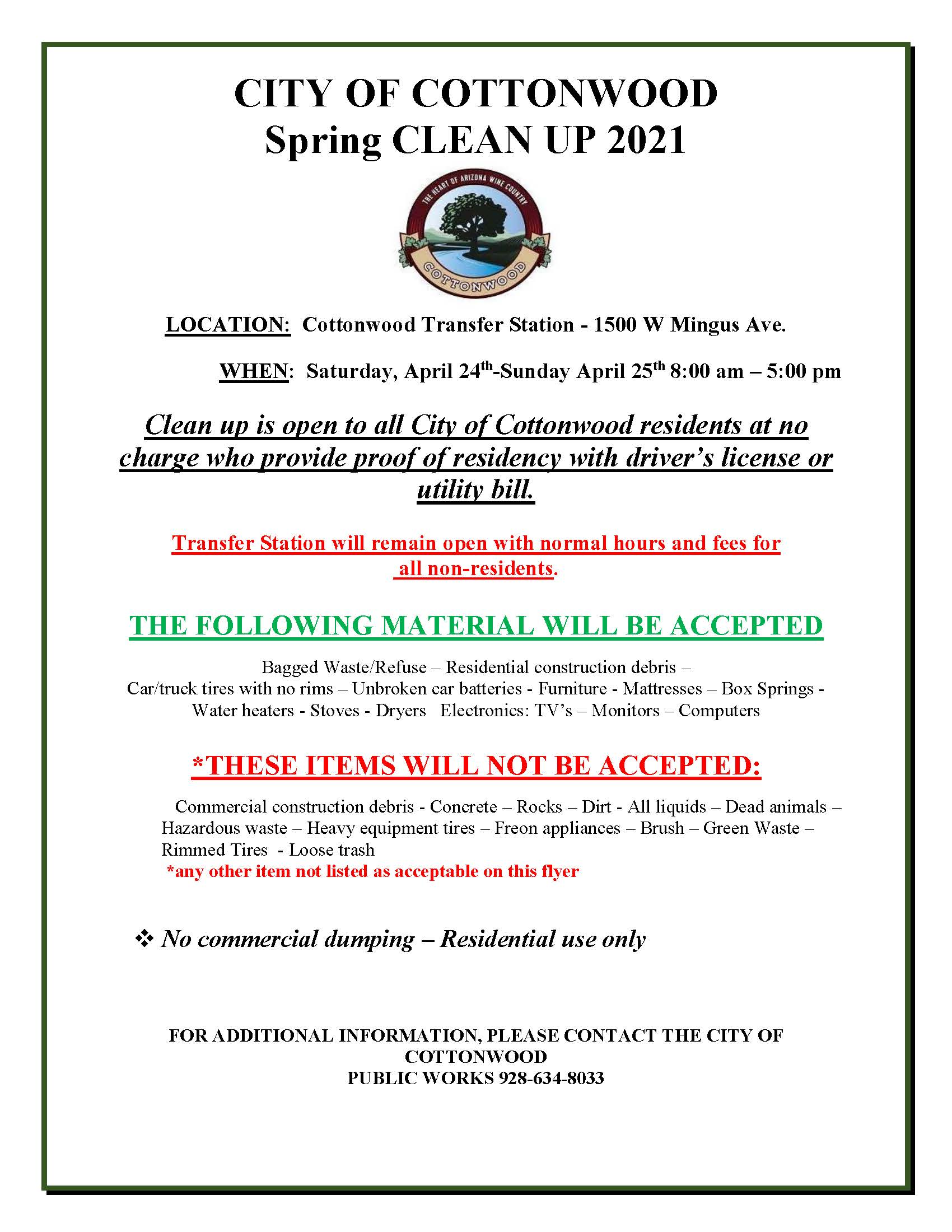 PSA - City of Cottonwood Spring Clean Up 2021
