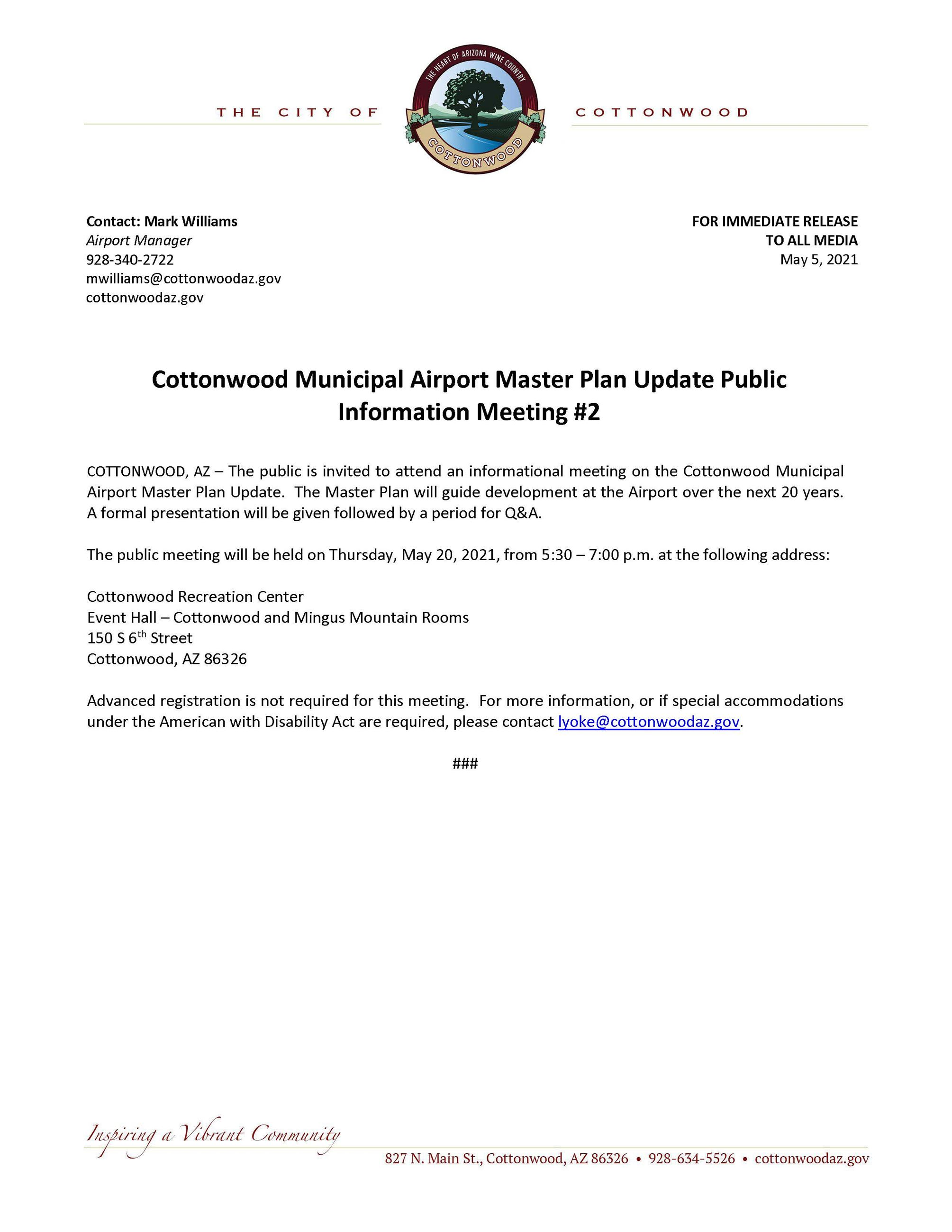 PRESS RELEASE - Cottonwood Municipal Airport Master Plan Update Public Information Meeting