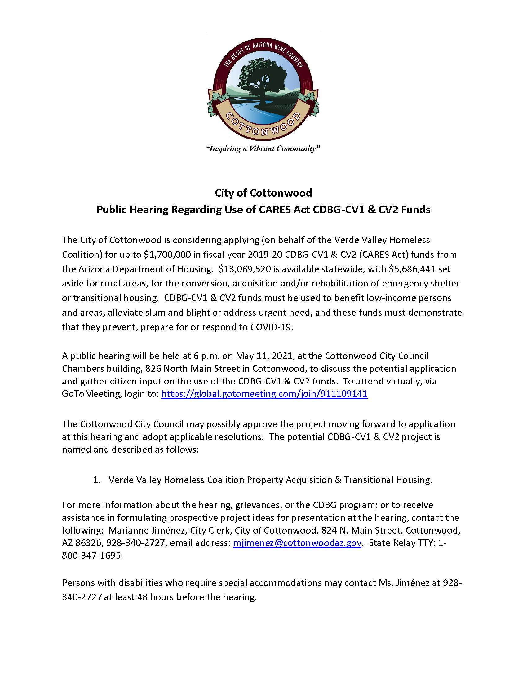 VVHC Second Public Hearing Notice