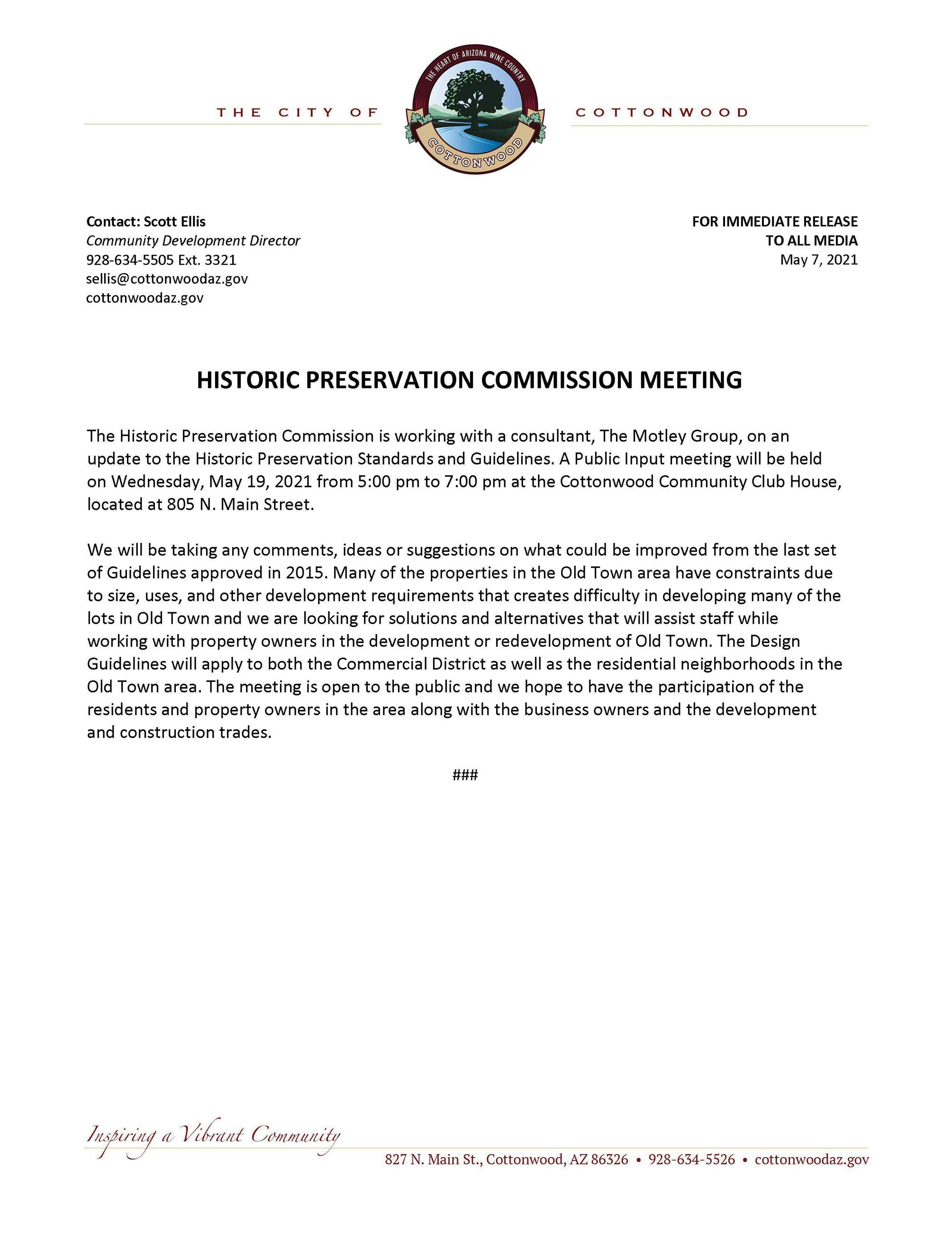 PRESS RELEASE - Historic Preservation Commission Meeting