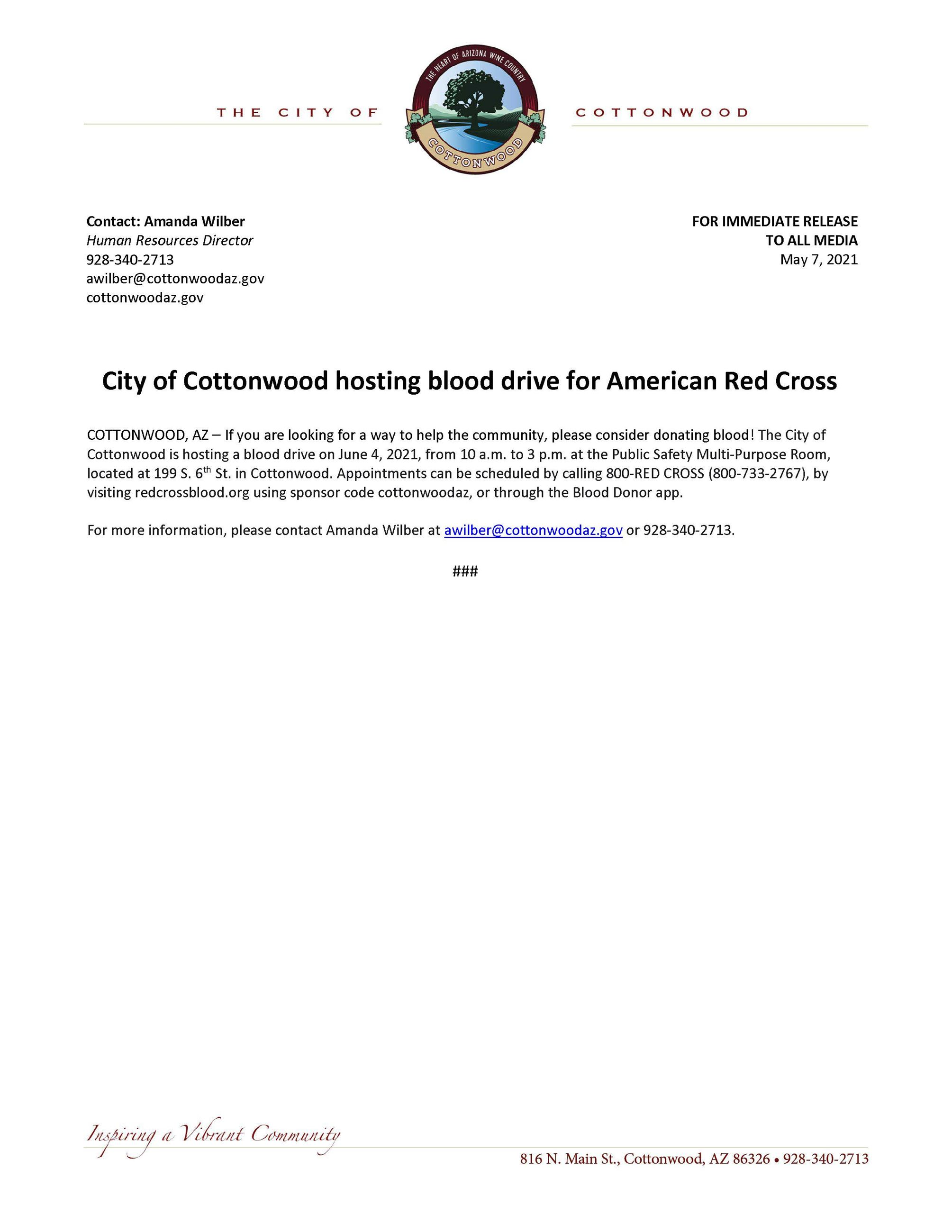 PRESS RELEASE - City of Cottonwood Hosting Blood Drive for American Red Cross