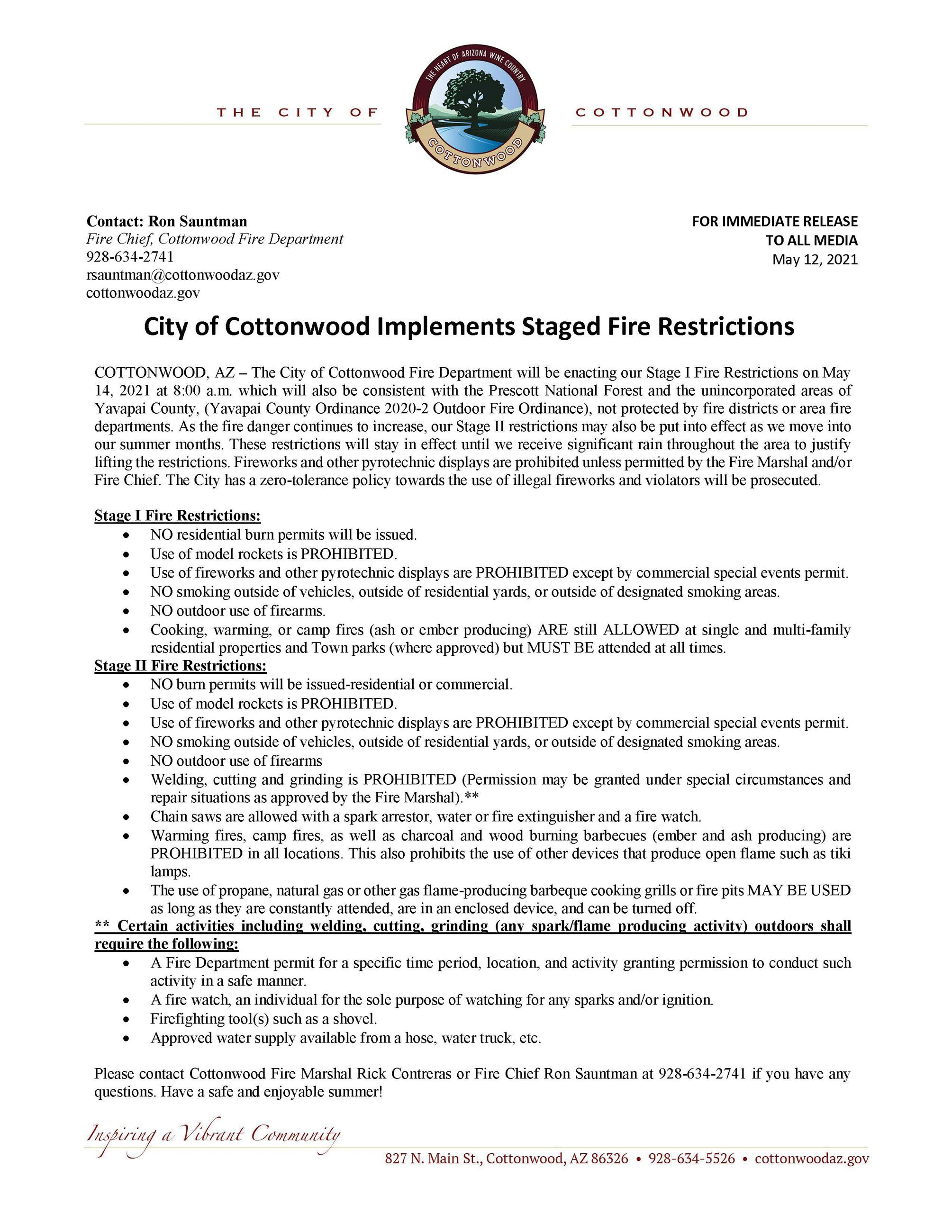 PRESS RELEASE - City of Cottonwood Implements Staged Fire Restrictions